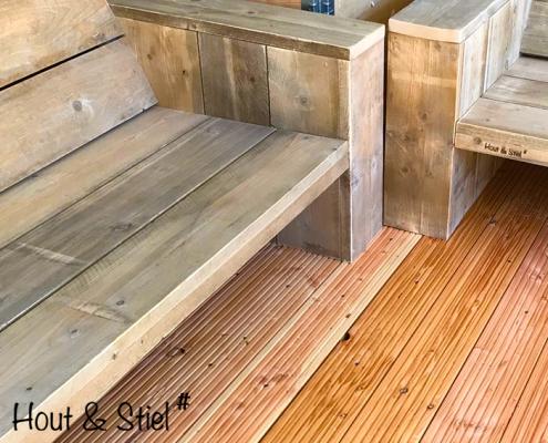 Loungebanken detail steigerhout