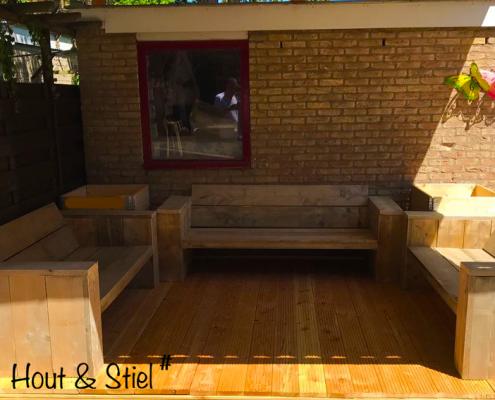 Loungeset op locatie steigerhout
