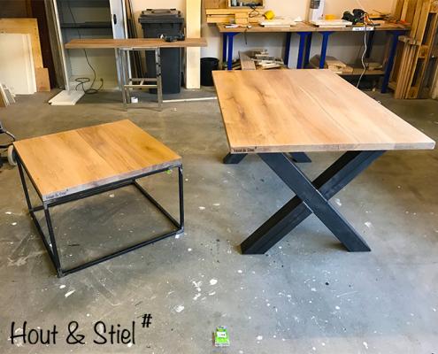 Industriële steigerhouten meubels van hout en staal